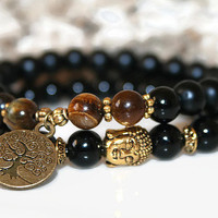 Men's Healing Bracelet Onyx Buddha Bracelet Set Energy Bracelets Stacking Bracelets Gift for Him Agate Bracelet Tiger Eye Beads Tree of Life