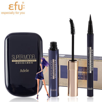 1Set=3Pcs EFU Super Model Series 3Pcs Makeup Set Powder and Mascara and Eyeliner #EFU005