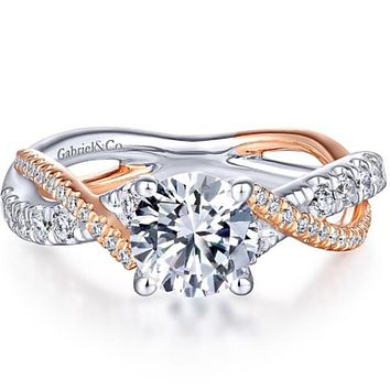 Gabriel Bypass Twist Two-Tone Diamond Engagement Ring