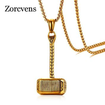 """ZORCVENS Norse Mythology Thor's Hammer Pendant Necklace for Men Gold Color Stainless Steel 24"""" Long Chain Necklace Male Jewelry"""