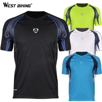 WEST BIKING Sport T-shirt Brand Design Men O-neck Cool T-shirts Male Bike Sports Quick Dry Shirts Bicycle Running Outdoor Jersey