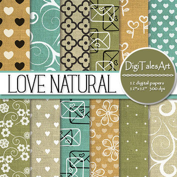 "Floral linen valentine hearts digital paper ""Love Natural"", scrapbook paper, heart flower swirl clipart pattern, romantic linen background"