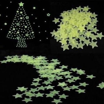 100pcs/pack Home Wall Glow In The Dark Star Stickers Decal Baby Kids Room New
