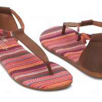 TOMS Shoes Brown Leather Woven Women's Ankle Strap Flat Playa Sandals,
