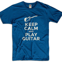 Keep Calm And Play Guitar Men Women Ladies Funny Joke Geek Clothes T shirt Tee Gift Present