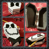 nightmare before christmas wooden coffin trinket box jack skeleton bone daddy halloween handpainted minature