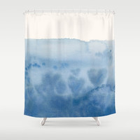 Blue Watercolor Shower Curtain - Waves of Love , unique,blue, hearts, ocean, coastal,  painted, colorful, decor, home