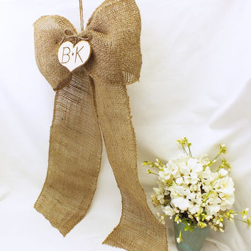 Burlap Wedding Bows With Personalized Hearts  5 Inch Wide Burlap Ribbon Use For Your Isle Bow Chair Bow Wreath Bow Set Of Six Rustic Wedding