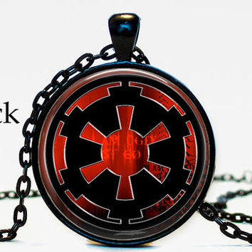 Star Wars Inspired Galactic Empira Symbol Necklace Pendant jewelry, Black and Red symbol, Geekery gift, gifts for star wars lovers