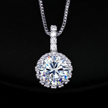 2Ct Cubic Zirconia Diamond Necklace Heart and Arrows CZ Pendant Multi Prongs