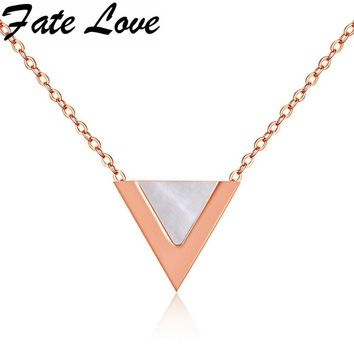 Fate Love New Hot Sale Geometric Triangle Necklace&Pendant Rose Gold Color With Shell Necklace For Woman Party Jewelry FL1178