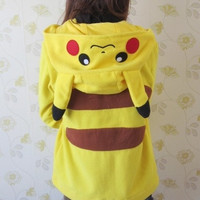 Anime Animal Women Men Cute Pokemon Pikachu Hooded Jacket Yellow Hoodie with Ears Polar Fleece Winter Hoody Plus Size Outwear