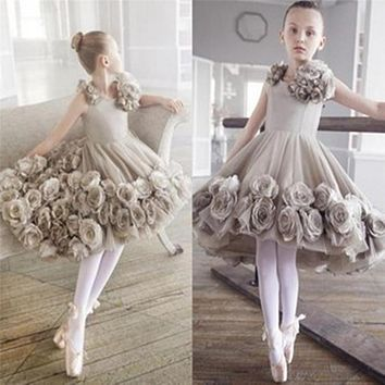 Child Gray Flower Girl Dresses for Weddings Real Princess Birthday Dress for Toddlers 2016 Little Girls
