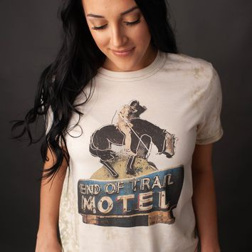 "Gina ""End of Trail Motel"" Embellished Military Green Bleached Tee"
