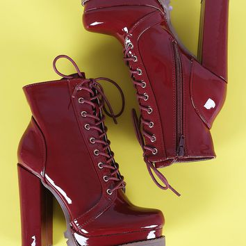 Liliana Lug Sole Lace Up Chunky Heeled Platform Ankle Boots
