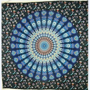 150x150 Indian Mandala Square Flower Peacock Tapestry Wall Hanging Beach Throw Mat Hippie Beach Tippet