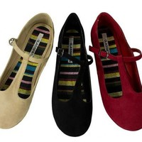 Women's T-Strap Faux-Suede Ballet Flat Mary Jane Round-toe City Classified Laura
