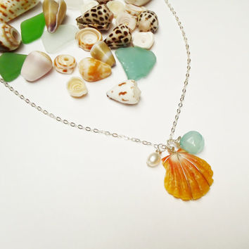 Hawaiian Sunrise Shell Sterling Silver Chain Necklace