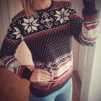 Geometric Printed Long Sleeve Casual Sweater
