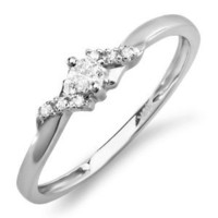 0.18 Carat (ctw) 10k White Gold Round Diamond Ladies Bridal Promise Engagement Ring (Size 7)