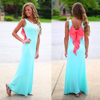 Bow Down To Me Maxi in Mint