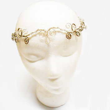 Elf Circlet, Elven Circlet, Medieval Crown, silver and brass, Wedding tiara, fantasy headpiece, elvish circlet, Renaissance Circlet