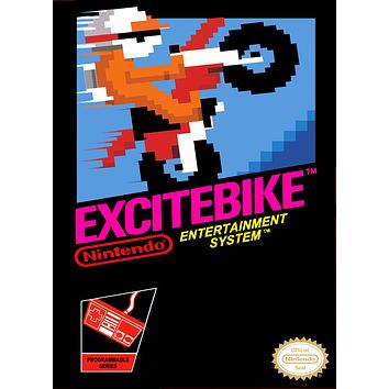 Retro Excite Bike Game Poster//NES Game Poster//Video Game Poster//Vintage Game Cover Reprint