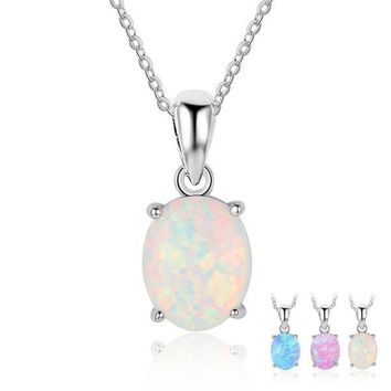 Necklace : Opal Stone Pendant Necklace