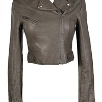 Bridget Vegan Leather Moto Jacket in Grey
