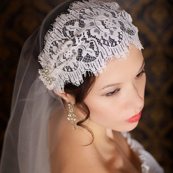 Gatsby Lace Juliet Cap Veil Bridal Veil Vintage Inspired Tulle Veil Mantilla Lace Cap Veil - Made to Order - ANNA