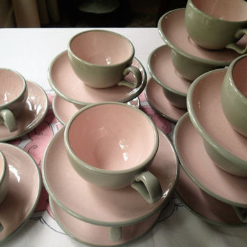 Harkerware Stone ware Shell Pink cup and saucer 12 sets, Retro pink dishes