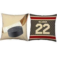 Set of 2 Personalized Hockey Pillows - Hockey Throw Pillow Covers and or Cushion Inserts - Sports Pillows, Custom Sports Room Decor