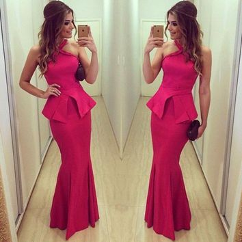 Hot Sale Peplum Red Satin Halter Mermaid Prom Dress Floor Length Long Evening Party Dresses