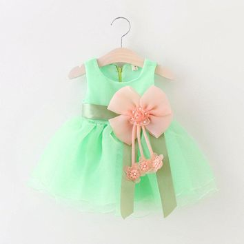 2018 Baby Girls Lace Dress Bowknot Infant Party For Toddler Girl 1 Year Brithday Baptism Clothes Pink Yellow Purple Tutu Dresses