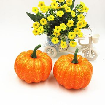 2PCS Mini Artificial Fake Decorative Pumpkin Halloween Props Faux Vegetables Pretend Play Photography Property Food