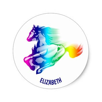 Running Rainbow Horse With Motion Trail Classic Round Sticker