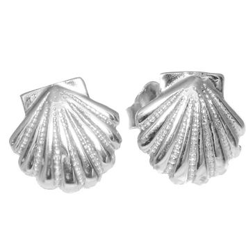 9MM SOLID 14K WHITE GOLD HAWAIIAN SEA SUNRISE SHELL STUD POST EARRINGS