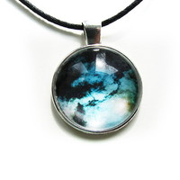 Glass Cabachon necklace. Galaxy. Universe. Cosmos. Navy Blue.