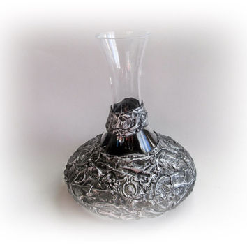 Rustic Wedding Wine Decanter Silver Grey Wine Decanter Wine Carafe Personalized Wedding Gift Bridal Shower Gift Anniversary Gift for Couple