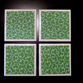 Tile Coasters, Coasters, Drink Coasters, Holiday Coasters, St. Patrick's Day, Shamrock Coasters, Shamrock Printed Tile Coasters- Set of 4