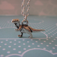 "Super Cute Silver Dinosaur ""Joey Rex"" T-Rex Charm Necklace"