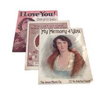 Vintage Sheet Music -Love Songs - 3 Songs -My Memory of You-You Can't Get Lovin'-I Love You!-Scrapbooking-Musical-1920's-Vintage Graphics