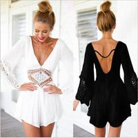 2 Colors Hollow Rompers Sexy Deep V-neck Backless Lace Conjoined Sexy Womens Jumpsuit Hot Summer One Piece Playsuit jumpsuit