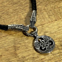 Large Sculptured Celtic Knot Pendant on Celtic Dragon Head End Braided Leather Cord Necklace