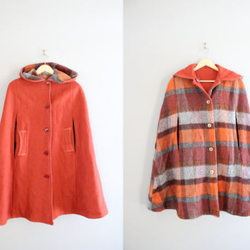 Orange Wool Long Cape Reversible Plaid Cloak Check Cape Hooded Poncho Minimalist Vintage 90s Size OS