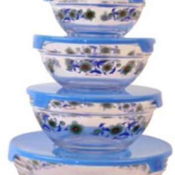 Imperial Home Glass Bowl w/ Blue Sunflowers - 5 Piece Set