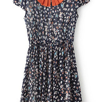 Navy Blue Floral Cap Sleeve Pleated Dress with Orange Peter Pan Collar