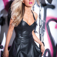 Sinful Faux Leather Mini Dress