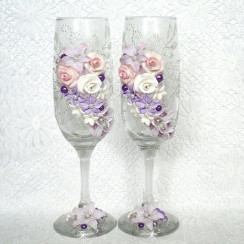 Beautiful Pair of  hand decorated wedding or anniversary Champagne Glasses, elegant Toasting Flutes with pearls and Polymer Clay Flowers