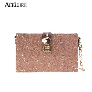 ACELURE Elegant Women Lock Evening Bag Simple Chains Box Bag Fashion Star Sequins Women Single Shoulder Bags Mini Leather Wallet